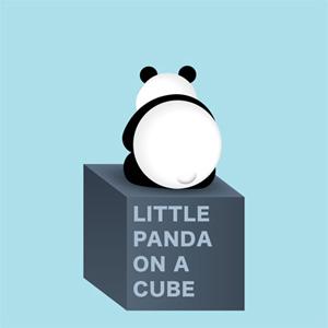 little panda on a cube illustration